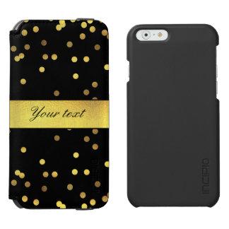 Classy Gold Confetti Black Incipio Watson™ iPhone 6 Wallet Case