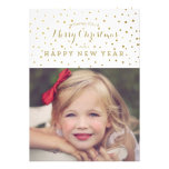 Classy Gold Dots Merry Christmas Photo Card Personalized Invite