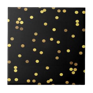 Classy Gold Foil Confetti Black Tile