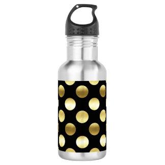 Classy Gold Foil Polka Dots Black 532 Ml Water Bottle