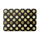 Classy Gold Foil Polka Dots Black Bath Mat