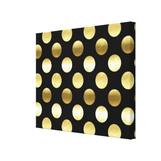 Classy Gold Foil Polka Dots Black Canvas Print