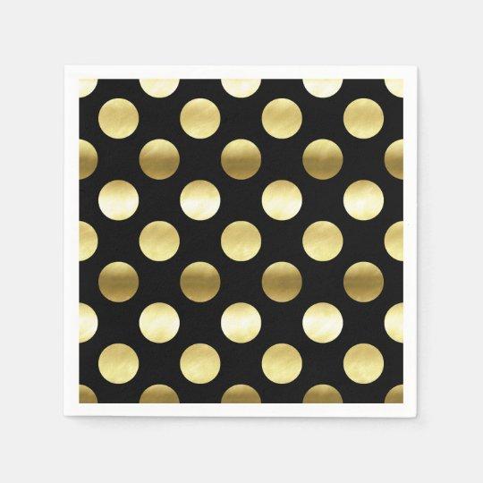 Classy Gold Foil Polka Dots Black Disposable Napkin