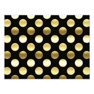 Classy Gold Foil Polka Dots Black Photo Print