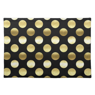 Classy Gold Foil Polka Dots Black Placemat