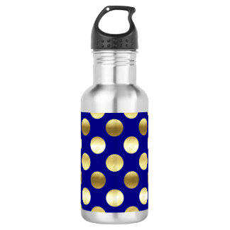 Classy Gold Foil Polka Dots Navy Blue 532 Ml Water Bottle