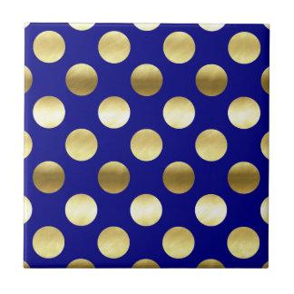 Classy Gold Foil Polka Dots Navy Blue Ceramic Tiles