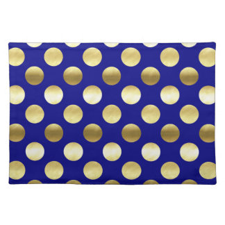 Classy Gold Foil Polka Dots Navy Blue Placemat