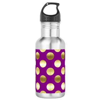 Classy Gold Foil Polka Dots Purple 532 Ml Water Bottle
