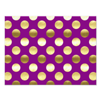 Classy Gold Foil Polka Dots Purple Photo Print