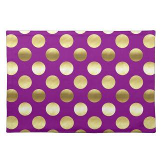 Classy Gold Foil Polka Dots Purple Placemat