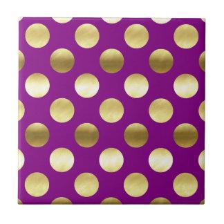 Classy Gold Foil Polka Dots Purple Tiles