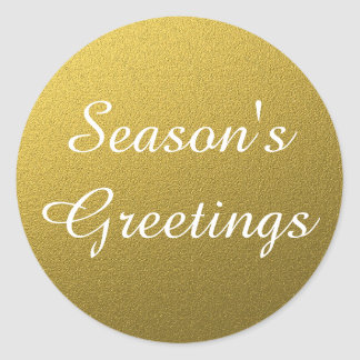 Classy Gold Foil Seasons Greetings Christmas Classic Round Sticker
