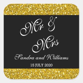 Classy Gold Glitter and Black Mr & Mrs Wedding Square Sticker