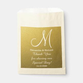 Classy Gold Glitter Wedding Thank You Monogram Favour Bag