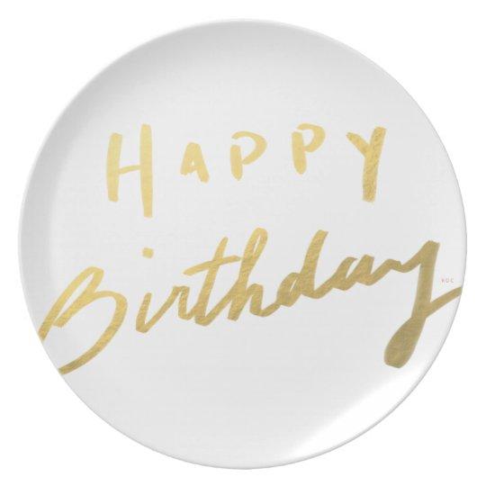 Classy Gold Happy Birthday Plate