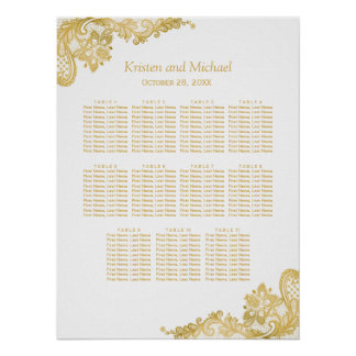 Classy Gold Lace Wedding Seating Chart