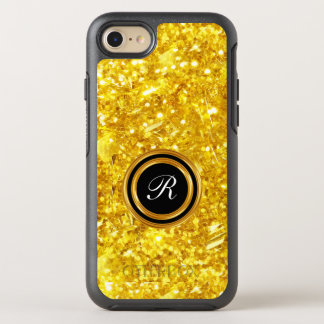Classy Gold Sparkling Faux Glitter Monogram OtterBox Symmetry iPhone 8/7 Case