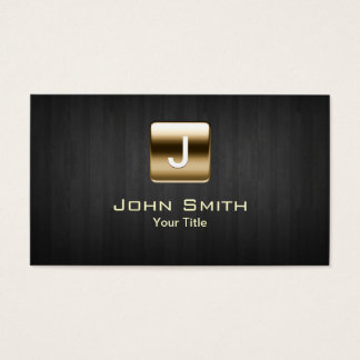 Classy Gold Stamp Dark Wood Business Card