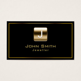 Classy Gold Stamp Jewellery Dark Business Card