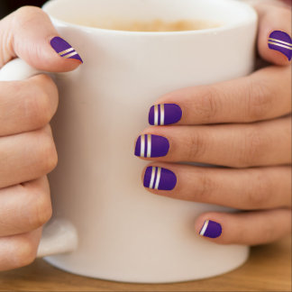 Classy Gold Stripes Purple Monster Minx Nail Art