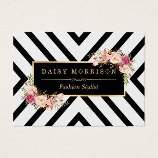 Classy Gold Vintage Floral Black White Stripes Business Card