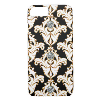 Classy Gold White Damask Bling iPhone 7 Case