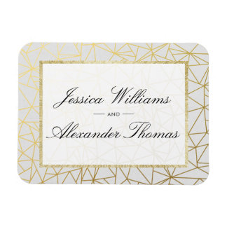 Classy Gold & White Wedding Magnet