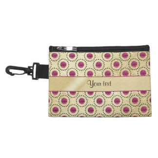 Classy Gold With Pink Glitter Dots Accessory Bag