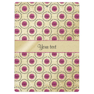 Classy Gold With Pink Glitter Dots Clipboard