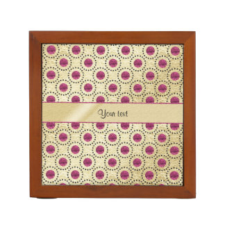 Classy Gold With Pink Glitter Dots Desk Organizer