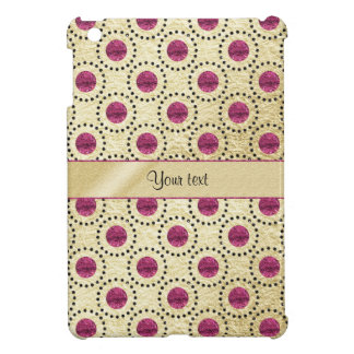Classy Gold With Pink Glitter Dots iPad Mini Covers
