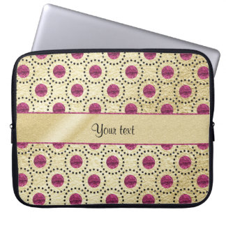 Classy Gold With Pink Glitter Dots Laptop Computer Sleeves