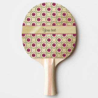 Classy Gold With Pink Glitter Dots Ping Pong Paddle