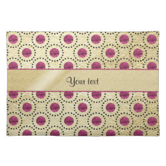 Classy Gold With Pink Glitter Dots Placemat
