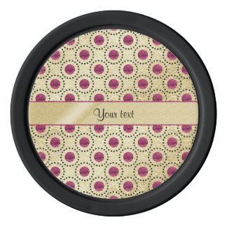 Classy Gold With Pink Glitter Dots Poker Chips