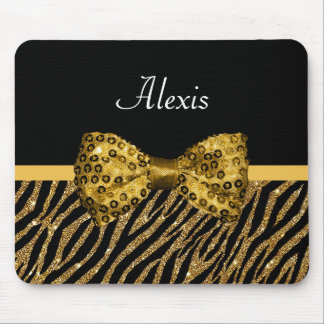 Classy Gold Zebra Print FAUX Glitz Bow With Name Mouse Pad