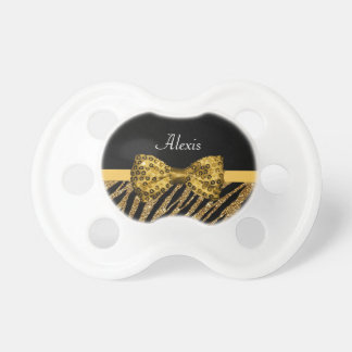 Classy Gold Zebra Print FAUX Glitz Bow With Name Pacifiers