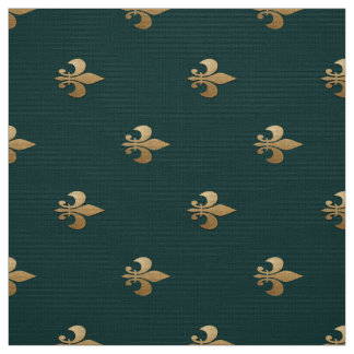 Classy golden like fleur de lis on dark sea green fabric