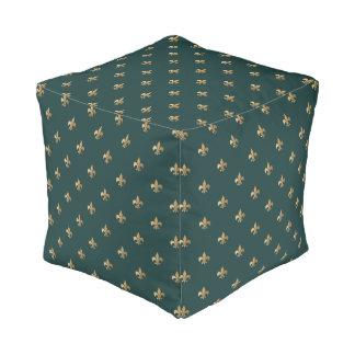 Classy golden like fleur de lis on dark sea green pouf