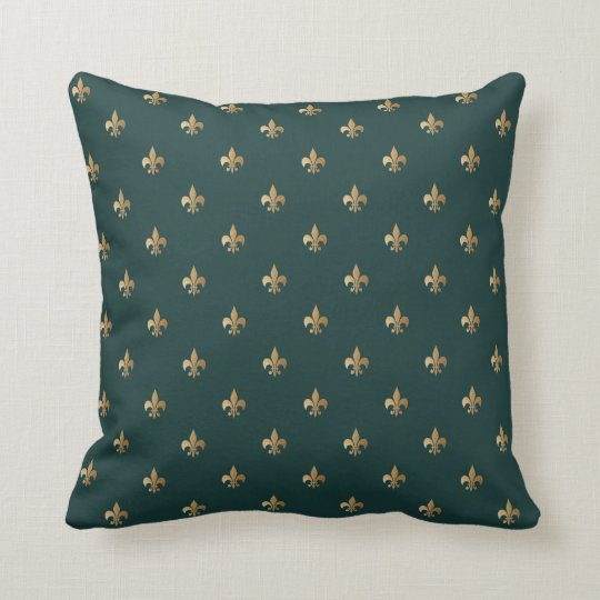 Classy golden like fleur de lis on dark sea green throw pillow