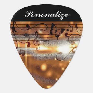 Classy Golden Musical Design Guitar Pick