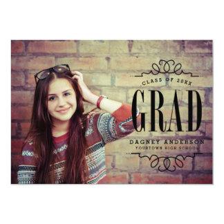 "Classy Graduate Photo Graduation Party 5"" X 7"" Invitation Card"