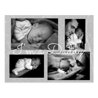 "Classy Gray ""I am a Daddy""  Birth Announcement Postcard"