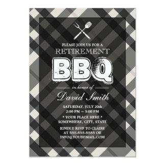 Classy Gray Plaid BBQ Retirement Party Invitations
