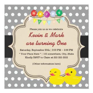 "Classy Gray Polka Dots Rubber Ducky Twins Birthday 5.25"" Square Invitation Card"