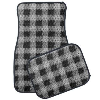 Classy Gray Shades Plaid Crochet on Set of 4 Mats Car Liners