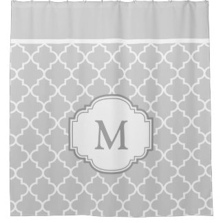 Classy Gray White Moroccan Tile Pattern Monogram