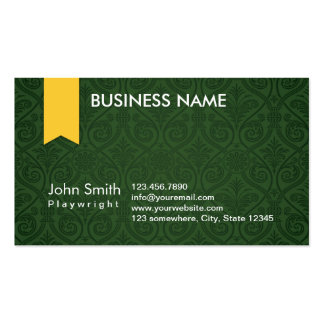Classy Green Damask Playwright Business Card