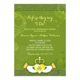 Classy Green Irish Wedding Rehearsal Dinner Card